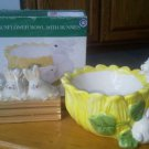Set of Sunflower bowl Bunny Ceramic Dish 3 Rabbit Candles in Crate Bunnies NEW