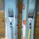 24 Pc Flatware Fresh Squeezed Summer Plaid set blue green 2001 Fork Spoon Kn New