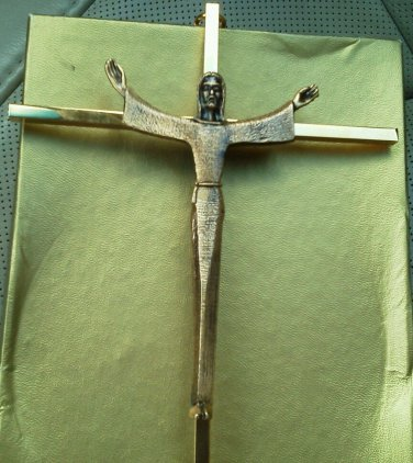 Gold Wall Cross Jesus Arms Spread Wide Cake Heavy 3D 10 inch Tall Vintage NEW