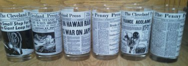 Set of 6 Cleveland Penny Press glass Newspaper Ohio Titanic Lindbergh Moon WWII