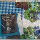 Vintage Flower Blue Check Curtain Tier 60W x 36L Geraniums Wicker Dupont Dacron