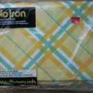Vintage Marlborough Yellow Full Flat Sheet Green Orange white Squares USA NEW