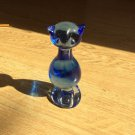 Deep Cobalt Blue Glass Cat Figure Standing Sitting up Art Glass Vintage paperwt