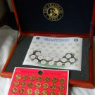 Franklin Mint 36 Presidential Coins Bronze Metal 1968 Cherry Wood Case Booklet