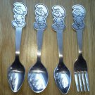 Set of 4 Peyo Danara Smurf 3 Spoon 1 Fork Set Baby Children stainless Steel Lot