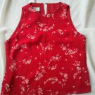 Ladies Jones Wear Red Dress Top Size 4 Shirt Lined Flower Sleeveless ChiffonNEW