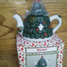Holiday Christmas Tree Mini Teapot Red Ornaments Dark Green Snowman Lid NEW Box