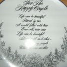 Silver FOR THE HAPPY COUPLE Wedding Keepsake Plate Flowers Porcelain USA WWA EUC