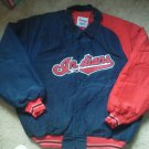 Men Cleveland Indians Coat Baseball Size XL Jacket Snap Starter Diamond Quilted