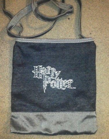 Harry Potter Purse Jeweled Dark Blue Denim Zipper Long Handle Shoulder Bag