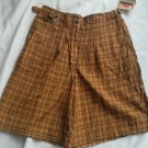 Ladies Francique Yellow Beige Shorts Size L Light weight Gold Plaid pockets NEW