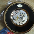 Chokin Plate Gold Edged 2 Fancy Ladies Birdfeeder Tree Small Stand Engraving NEW