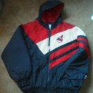 Men Cleveland Indians Coat Baseball Size L Jacket zipper hood Quilted Warm EUC