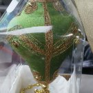 Green Hand Crafted Ornament Large Bead gold trim Victoria Valley Philippines NEW