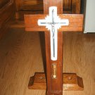 Wood Cross Crucifix Sick Call LAST RITE Sacrament Silver Metal Laminate Vintage