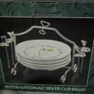 International Silver Silverplated Set of 4 Cocktail Set Picks Plates Rack NEW