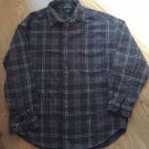 Men Structure Flannel Cotton Shirt Heavy Thick Put away Vintage Grey Size M EUC