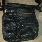 Black Purse Hand Bag Shoulder Lined icing Buckles Zippers Snap Pockets Soft EUC