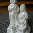 Holy Family Nativity White pearl Ceramic Joseph Mary Jesus Manger Statue Detail