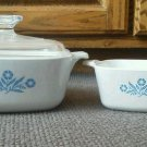 Set of 3 Corning Ware Blue Cornflower Casserole Dish Lid 1.5 QT Lid 22 oz Glass