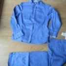 Jones Co Ladies 2 pc Sz 8 Pant Suit Med Jacket Stretch Porcelain Blue Cotton NEW
