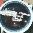 """Star Trek 1991 Plate Ceramic Stand 4"""" Voyager Starship Enterprise Boldly Go  NEW"""