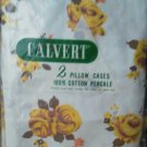 Vintage Calvert Set of 2 Pillowcases Cotton Percale Yellow Rose Brown White  NEW