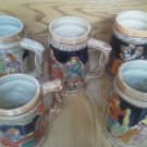 Set of 6 Vintage Couple Colorful Stein Drinking Dancing Japan Ceramic Glass Lot