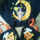 Halloween Ladies Sweatshirt Size M Black Moon Witch 2 Cloth Trick or Treat Bags