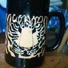 Black Cup Golden Orange faced Tiger Mug Japan hand crafted Otagiri Detailed EUC