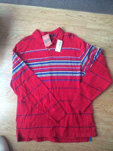 Cremieux Red Striped Polo shirt Size L cotton Men Long Sleeve Jeans Brand New