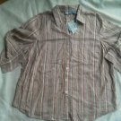 Ladies Liz & Me Blouse Size 1X Cotton Textured Striped Top Seer Button down New