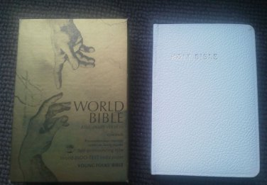 Holy Bible World Self Pronouncing type Young Folks White King James Version NEW