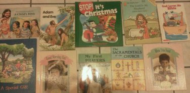 Set 10 Religious kids First Bible Prayers Sacraments Adam Reading books Children