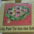 Lily Pad Tic Tac Toe Set Cermanic Heavy Frogs Lilly Pink Flowers 10 Pieces Base