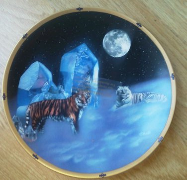 Lenox Collector Plate White Tigers Crystal Hunter Collection by Barry Chall Moon