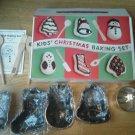 Christmas Kids Baking Set 4 Mini Cake Pan Sifter Spatula Spoons tree Snowman NEW