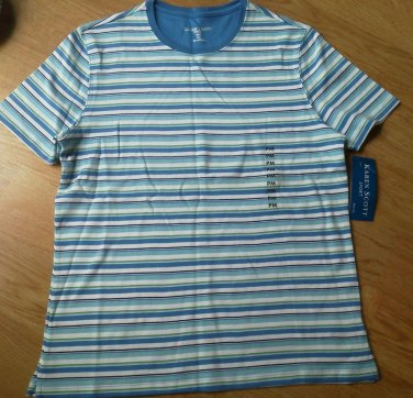 Ladies Karen Scott Sport Shirt Top blue Stripe Cotton Size PM Scoop Neck NEW