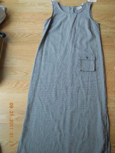 Kathie Lee Ladies S/L Yarn Dye Dress Side Slit Black Ivory Medium 8 10 New NWT