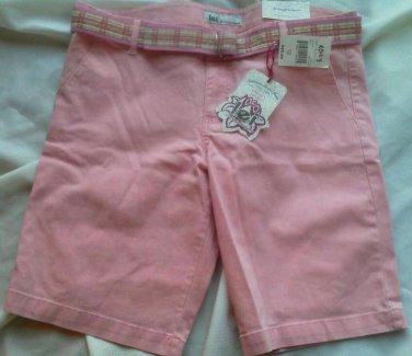 Juniors LEI Stretch Shorts Size 11 Pink Cordory LOWBOY CHelsea Plaid Belt NEW