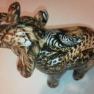 La Vie Elephant Animal Print Leopard Zebra Trunk Up Ceramiic Safari Patchwork