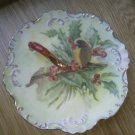 Hand painted Bird Saucer Plate Handle Gold Trim Leaves Berry 6 1/2 Inch Diameter