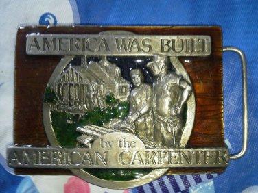 Men America was Built Carpenter belt buckle design Beige brown Western American