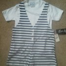 Children blue stripe romper shorts white shirt outfit size 6 NEW Eve Byer Calif