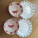 Set of 4 melmac white black Plate Red Butterfly bowl soup Salad Chili Melamine