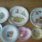 Set 7 Melmac Plate Bowl Zak Tweety Sylvester Barbie Peter Rabbit Pooh Divided