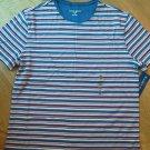 Ladies Karen Scott Sport Shirt Top bl Purple Stripe Cotton Sz M Scoop Neck NEW