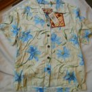 Ladies Caribbean Joe Shirt Blouse Blue flowers Island Breeze Guache Lily S NEW