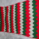 "HANDMADE AFGAN Green Red White Striped beautiful Blanket Throw 31"" x 80"" Holiday"