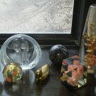 Lot 9 Paperweights Lucite Brass duck Pink Coral Metal Bride Groom Flowers Marble